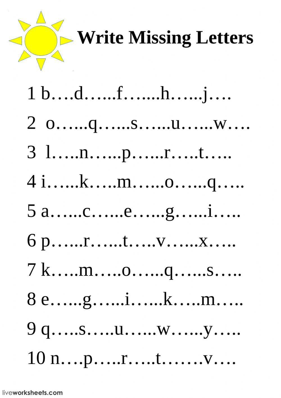 Write Missing Letters Interactive Worksheet Alphabet Letter Worksheets Missing Letter Worksheets Letter Worksheets
