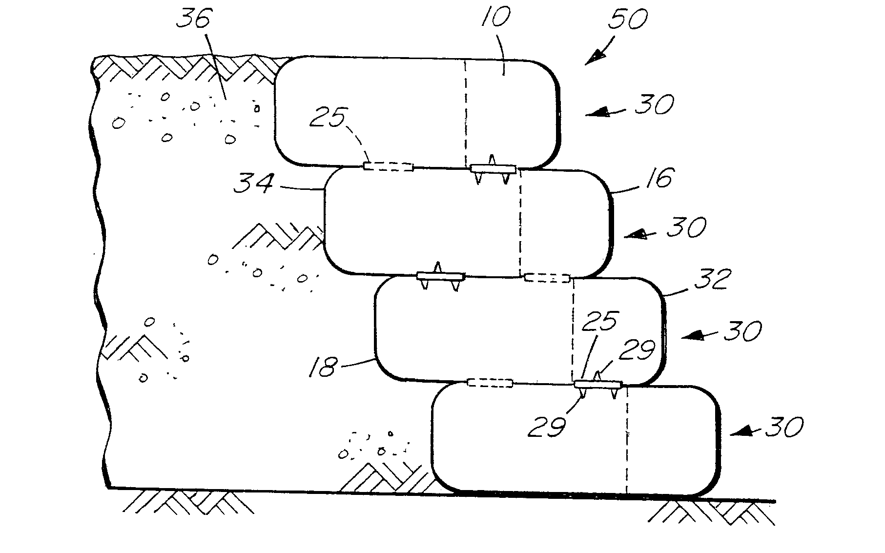 Patent Us20070053752 Sandbag Retaining Walls Adapted For Plant Concrete Bags Landscaping Retaining Walls Retaining Wall