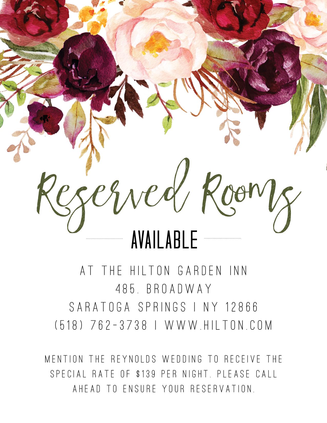 rose wedding hotel cards wedding details cards transportation
