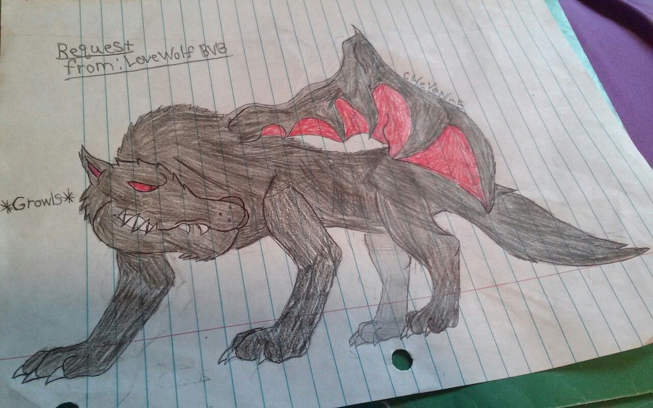 The winged wolf by cHeYeNnE. Request from: Love Wolf BVB (@janelleharrish )