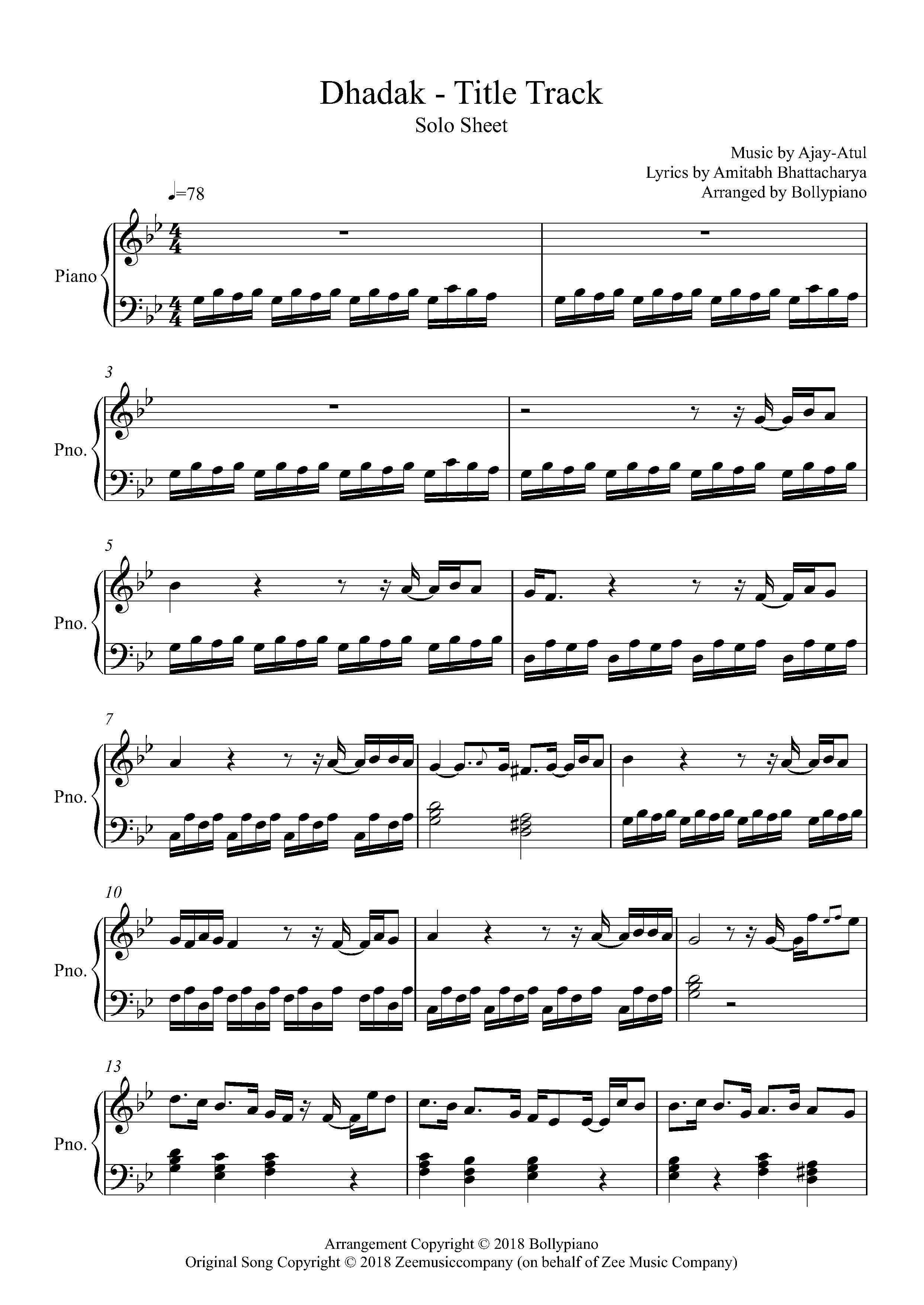Dhadak Title Track Piano Notes Ajay Atul Piano Solo Sheet