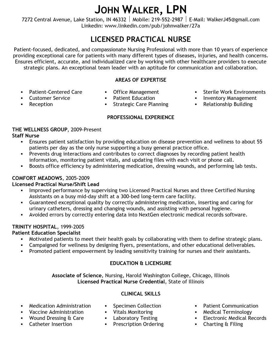 Example Lpn Resume How To Write A Quality Licensed Practical Nurse Lpn Resume