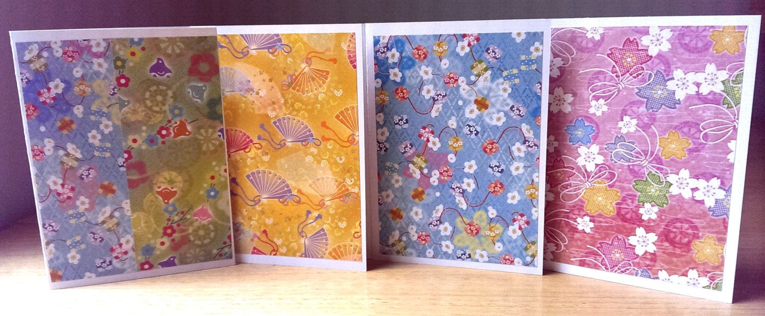 4 handmade cards pack of 4 blank note cards japanese