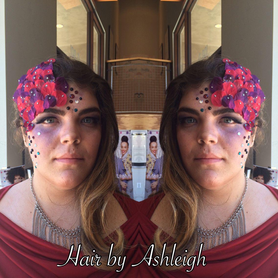 #avantgarde #avant #garde #red #purple #fashionshow #graduation #makeup #glitter #diamonds #curledhair #curlyhair #style #eyebrows