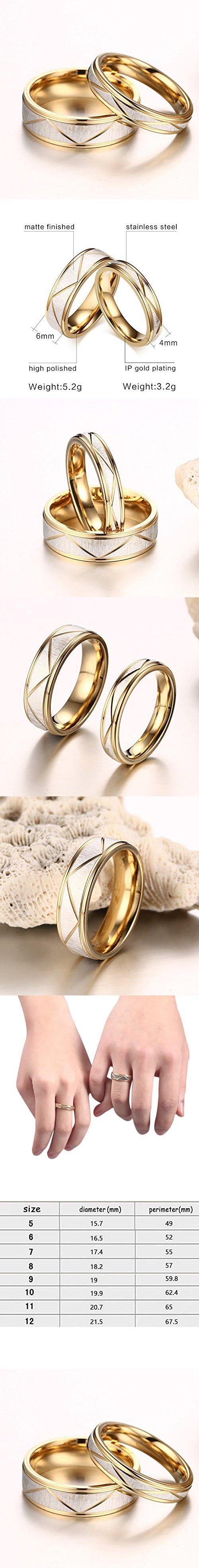 Chryssa Youree Titanium Steel Gold Couples Promise Ring Romantic