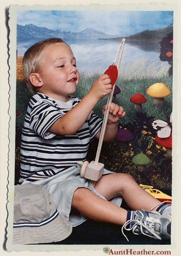 How my little man has grown... He always did love to fish, real or plastic fish. (about 2 years old) c. 2003 #AuntHeather