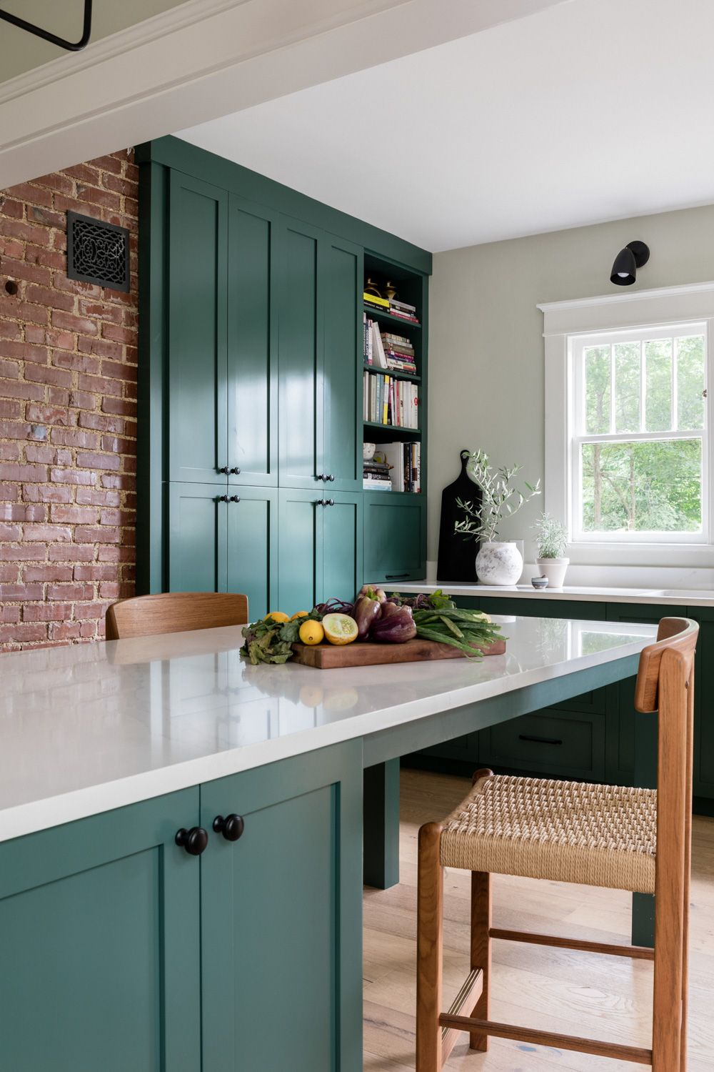 Kitchen Renovation Nashville Dark Green Cabinets Exposed Brick Dark Green Kitchen Kitchen Renovation Green Cabinets