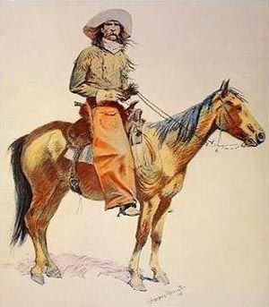 WESTERN ART POSTER Cowboy in Chaps Frederic Remington