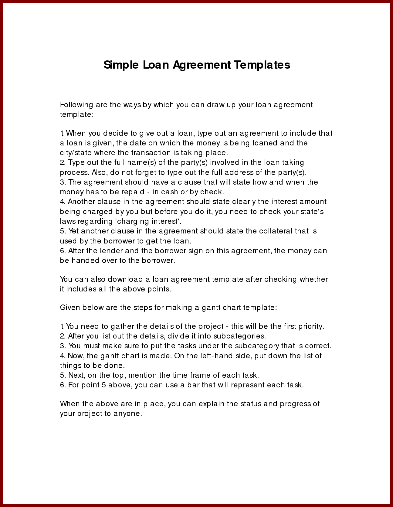 Repayment Contract Template Example Form Loan Agreement Payment