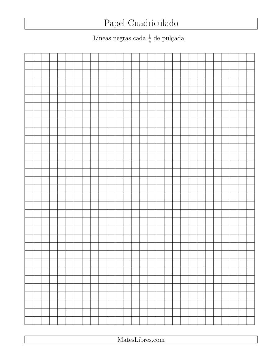 Papel Cuadriculado Con Lineas Negras Cada 1 4 De Pulgada Tamano De Papel Carta Papel Cuadriculado Cuadricula Dibujos En Cuadricula