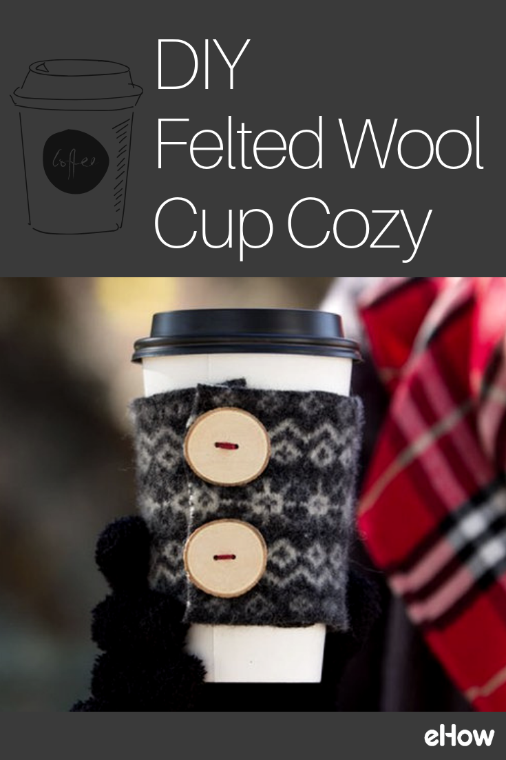 DIY Felted Wool Cup Cozy is part of Knitting and Crochet Ideas Cup Cozies - It's definitely time to bring out those warm sweaters and bundle up  How about making a sweater for your favorite winter drink cup, too