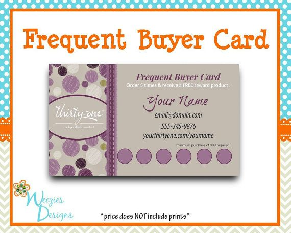 frequent diner card template - thirty one sketchy dot frequent buyer card by