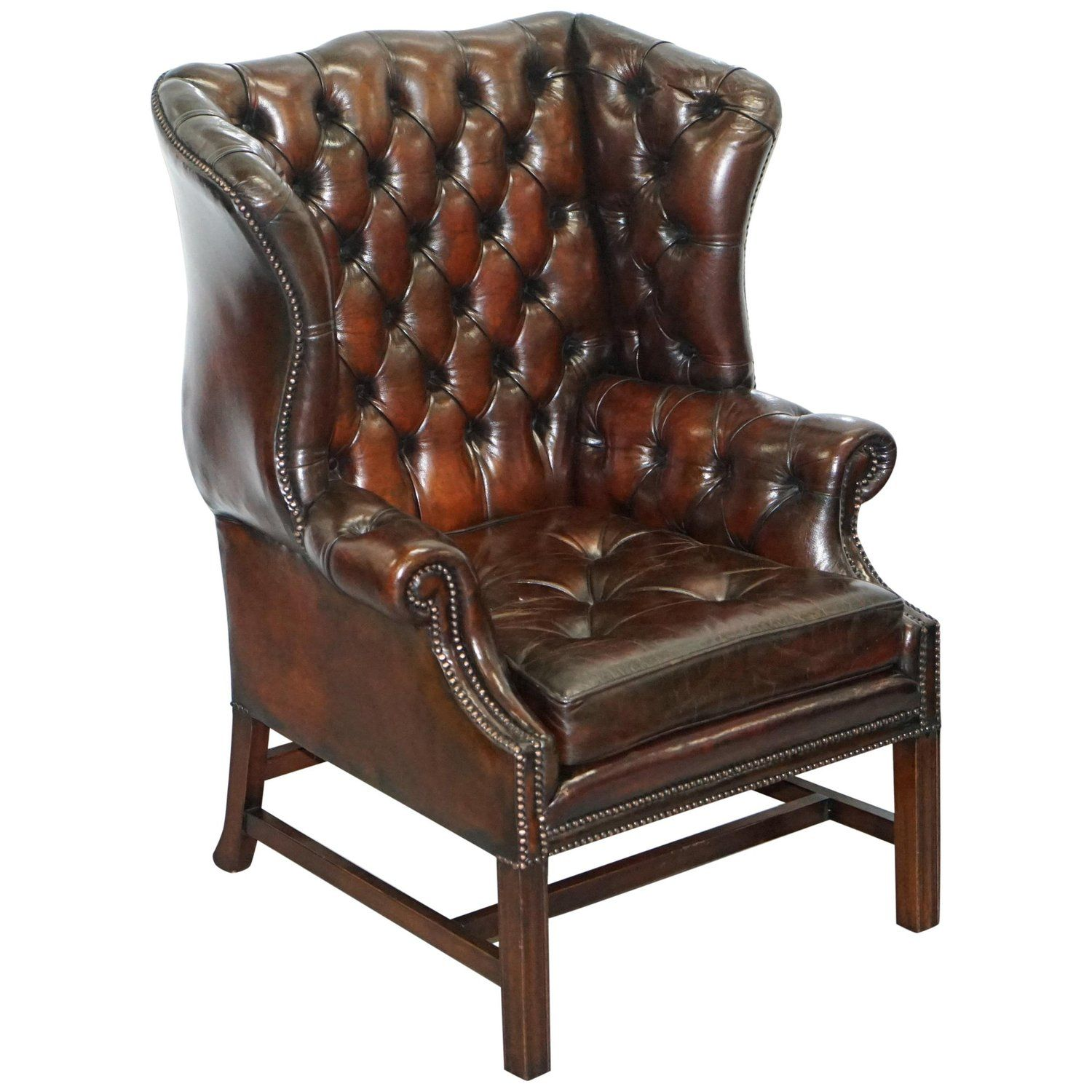 Stunning Cigar Brown Leather Chesterfield Wingback Armchair
