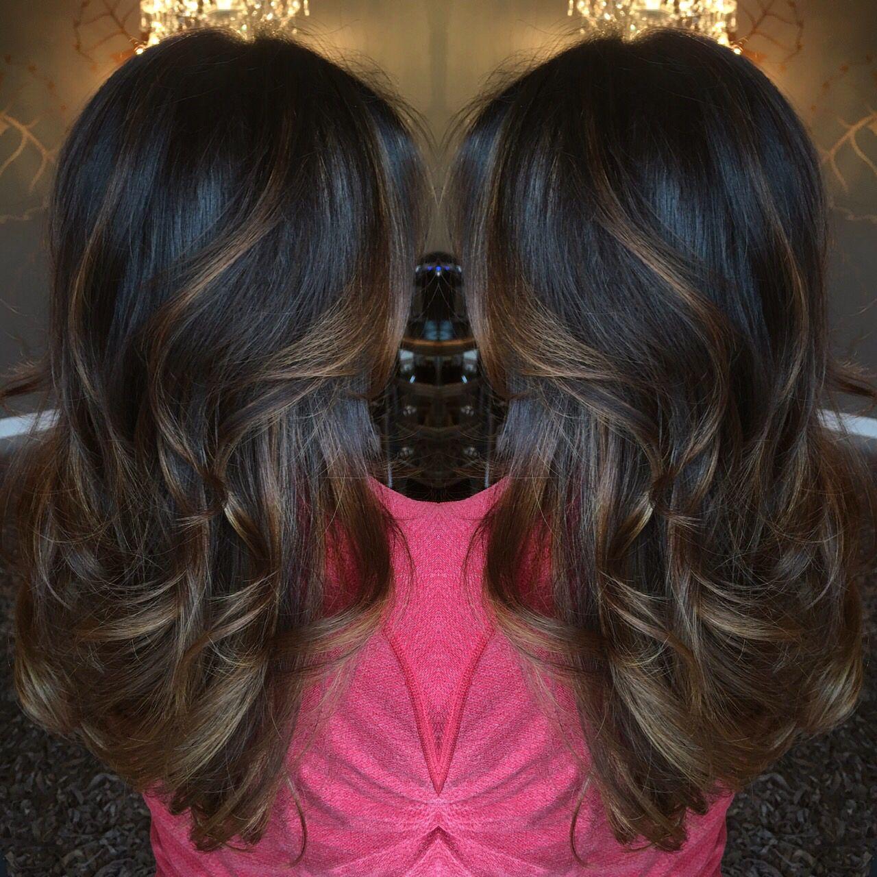 Dark Brown Balayage On Long Hair Beautiful Chocolate