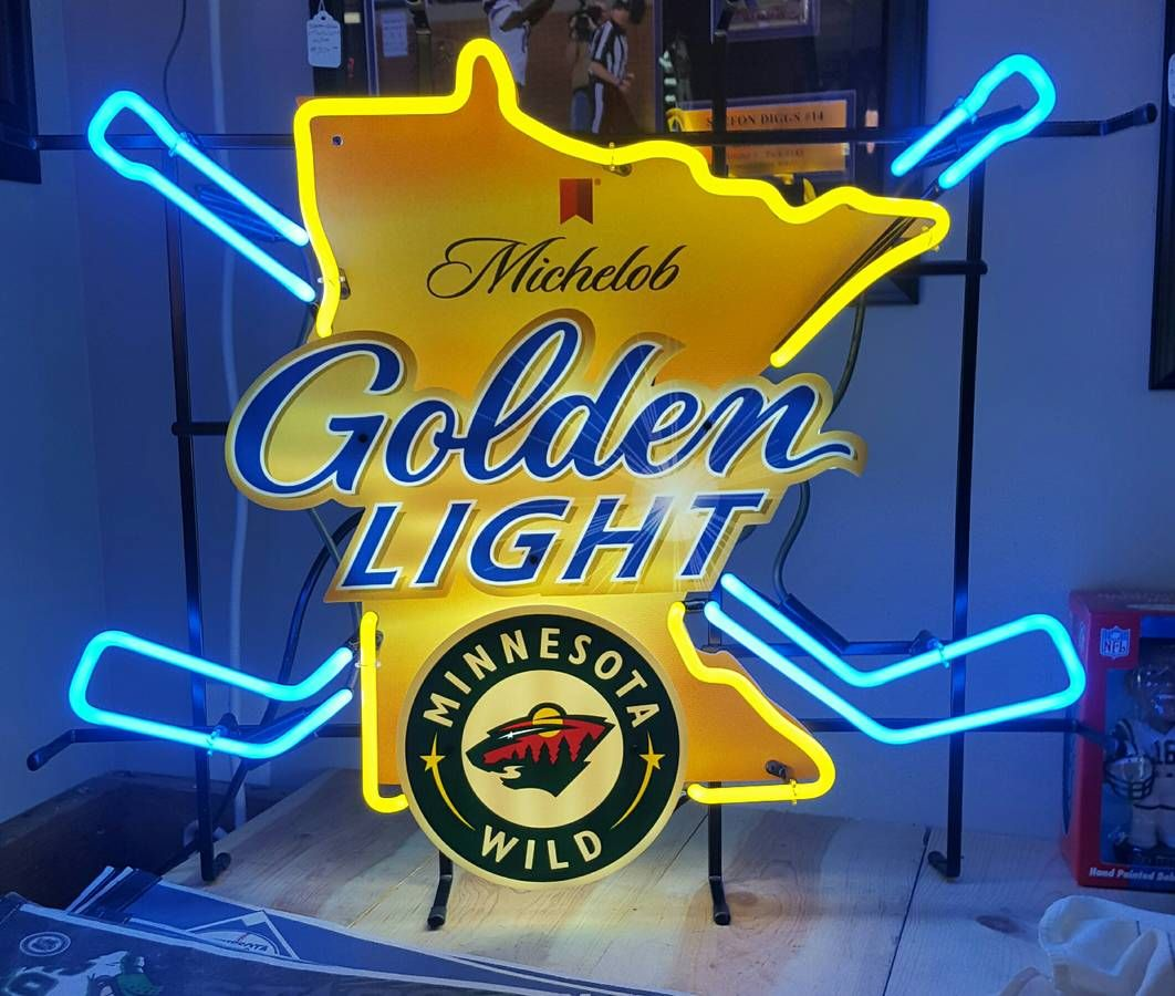Michelob Golden Light Minnesota Wild Hockey Neon Beer Sign Neon Signs Neon Beer Signs Minnesota Wild