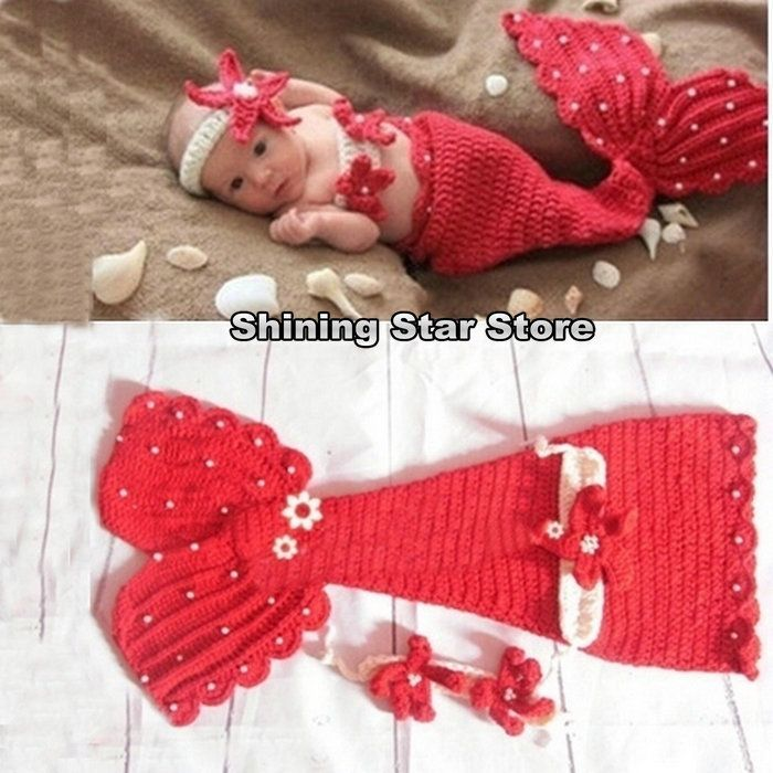Find more rompers information about free shipping set of 3 crochet find more rompers information about free shipping set of 3 crochet patterms of mermaid tailheadbandbikini cute red knitted baby mermaid outfithigh dt1010fo