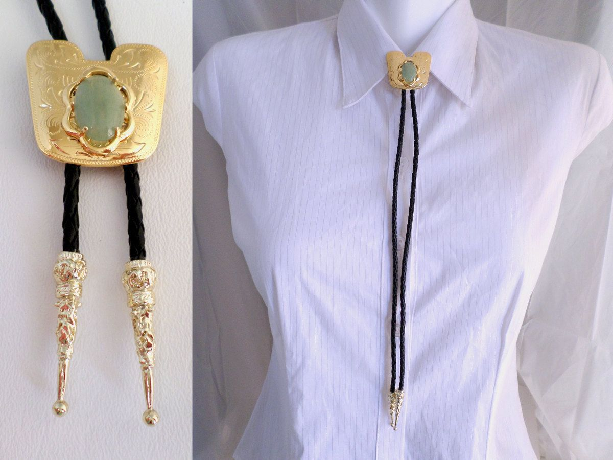 Bolo Tie, Gold Saddle Blanket with Green Aventurine Stone, Western ...