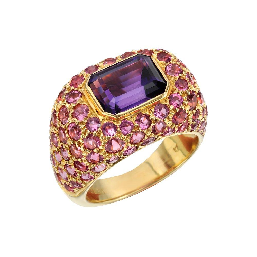 "Verdura ""Domed"" Emerald-Cut Amethyst & Rubellite Ring"