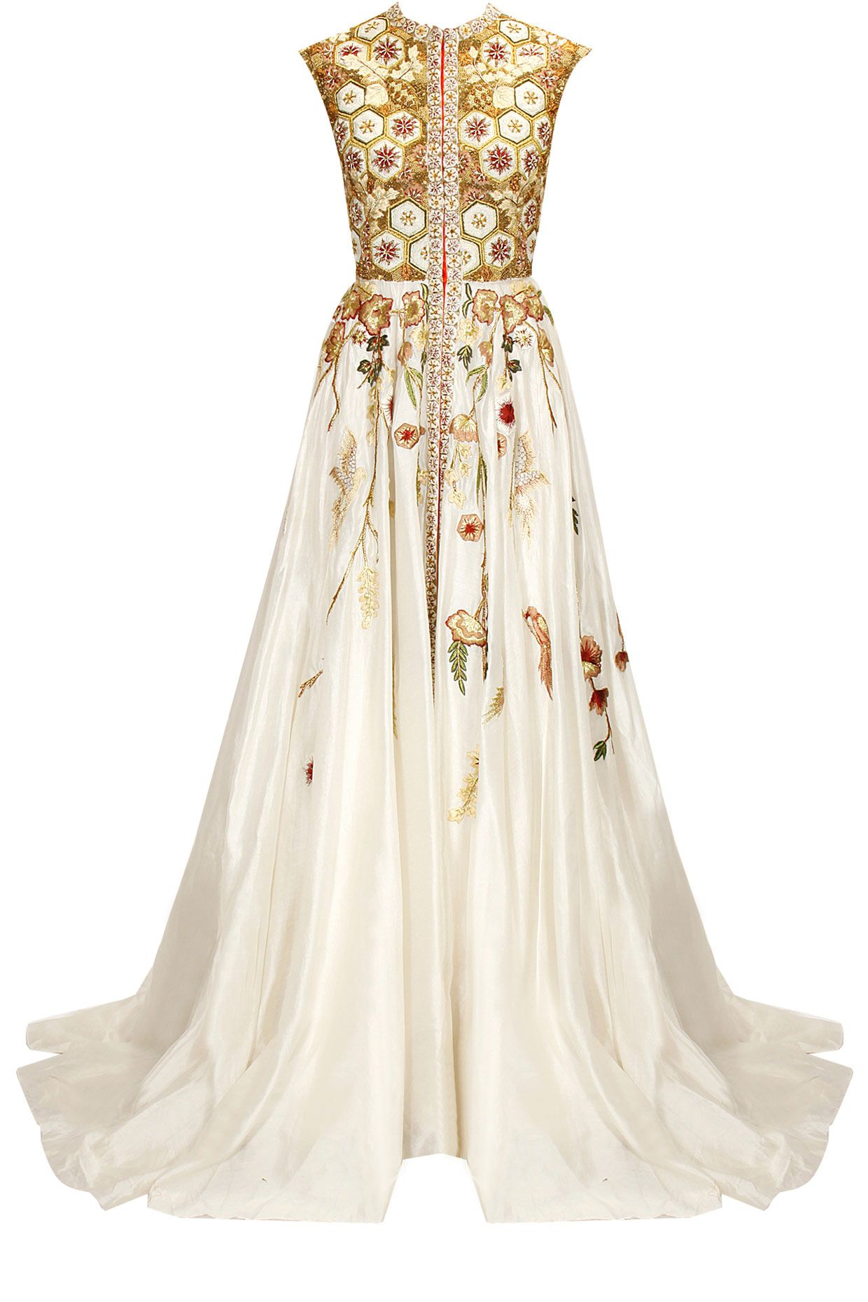 Off-white embroidered flared gown by Samant Chauhan. Shop now: www ...