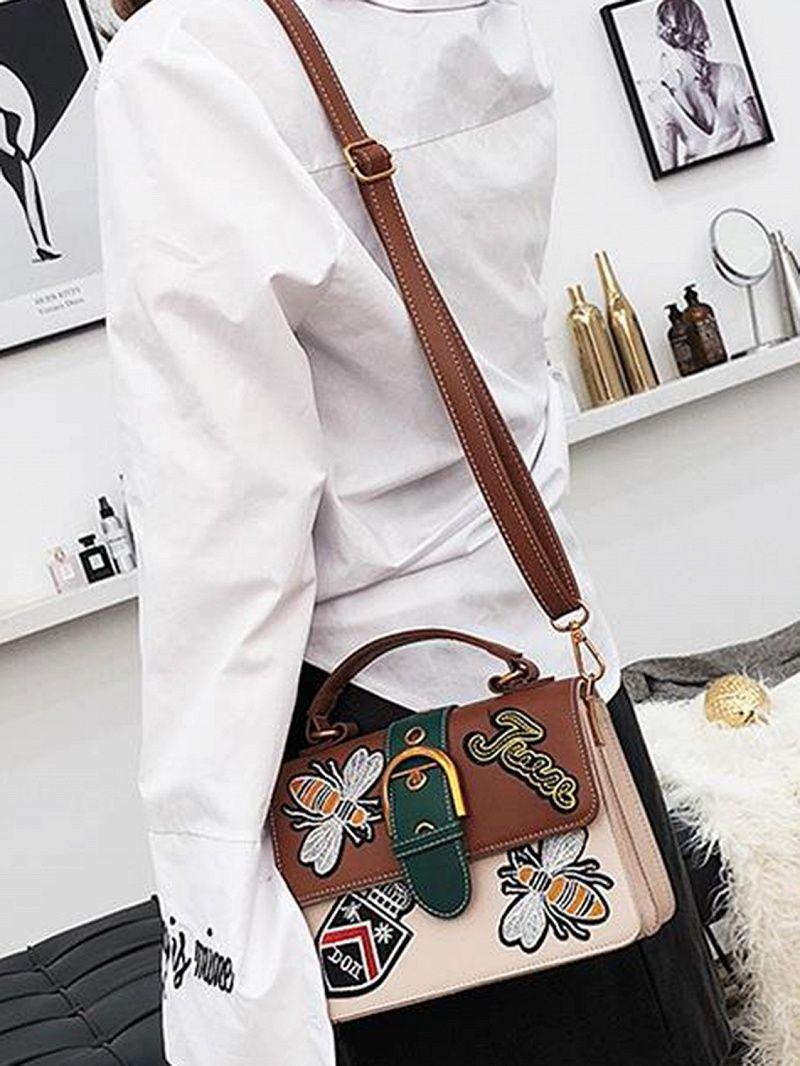 Limited Supply Brown Embroidery Zip Detail Chic Women Cross Body Bag   elegantshoegirl  shoes   6afe48a025b5f