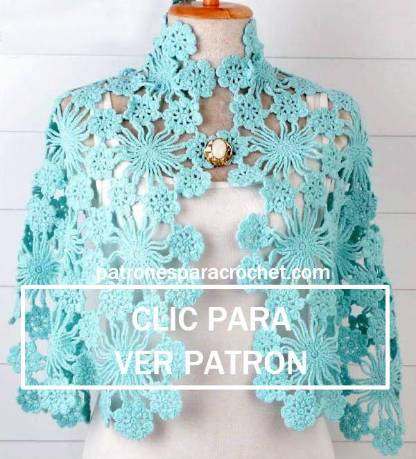 chal tejido al crochet con figuras de flores unidas | Crochet y Dos ...
