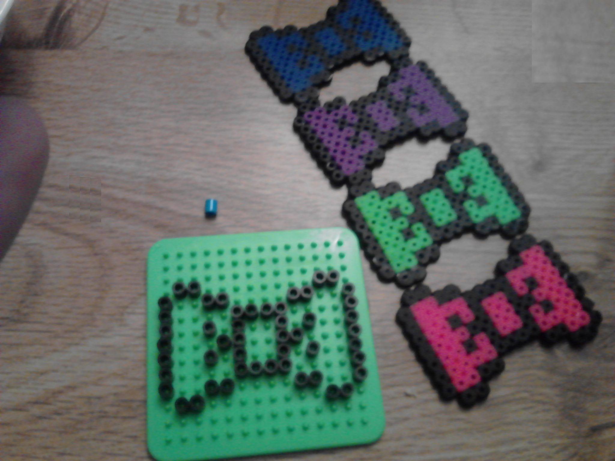 8 Bit Bows Made With Perler Beads On A 14x14 Square Grid Hot Glue