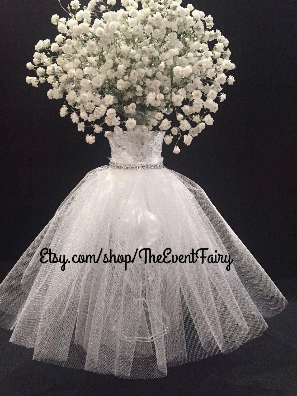 bridal centerpiece vase dress shower centerpieces tulle decorations vases flower etsy table event fairy diy elegant floral couture bouquet cupcake