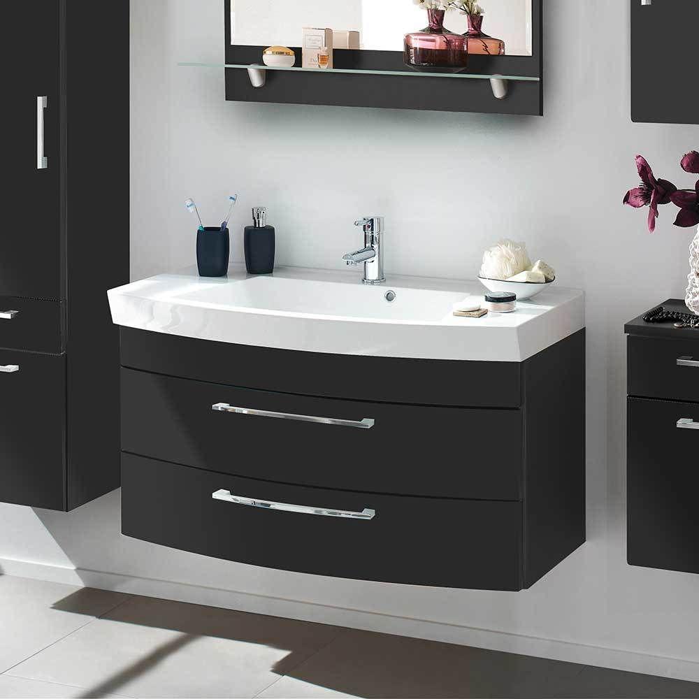 Badezimmer Waschbeckenschrank in Anthrazit Hochglanz 100