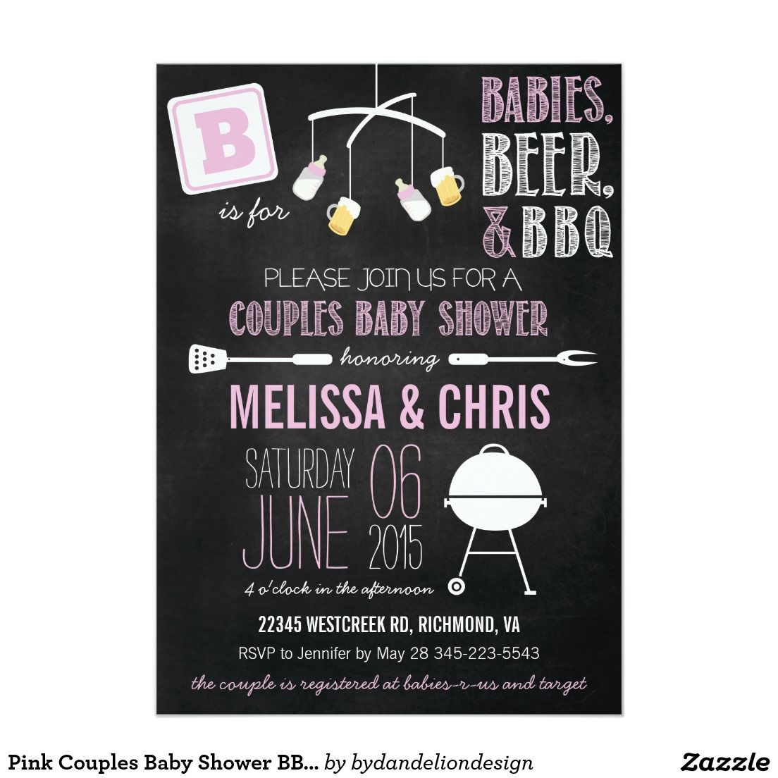 Pink Couples Baby Shower BBQ Invitation | Couples baby showers ...