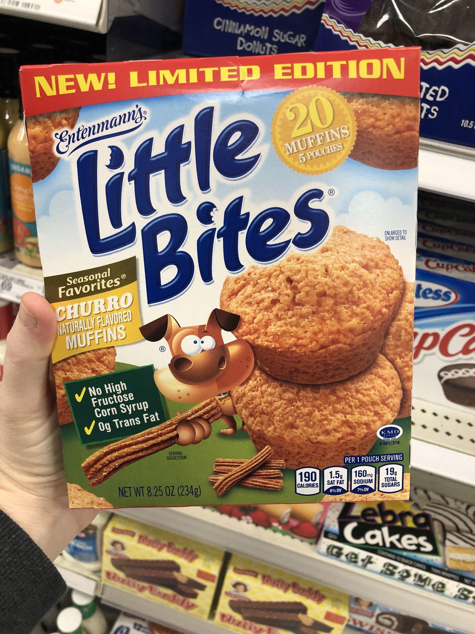 Found entenmanns little bites churro muffins snacks