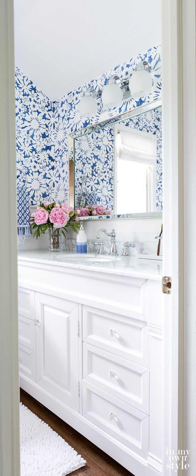 Blue and white DIY stenciled bathroom makeover, perfect for color ...