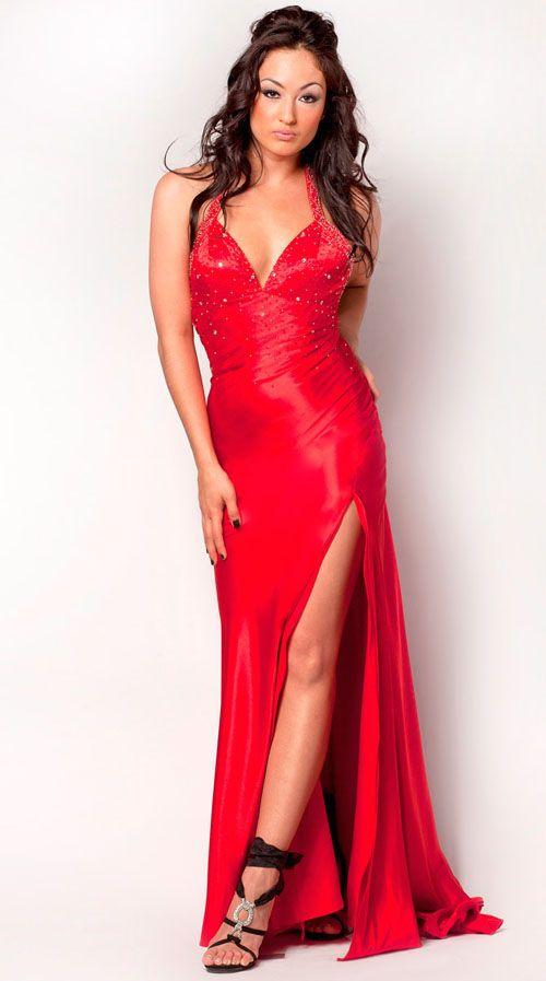 2012 Nina Canacci Prom Dresses! Red Va Va Voom Beaded Charmeuse Low Back Gown
