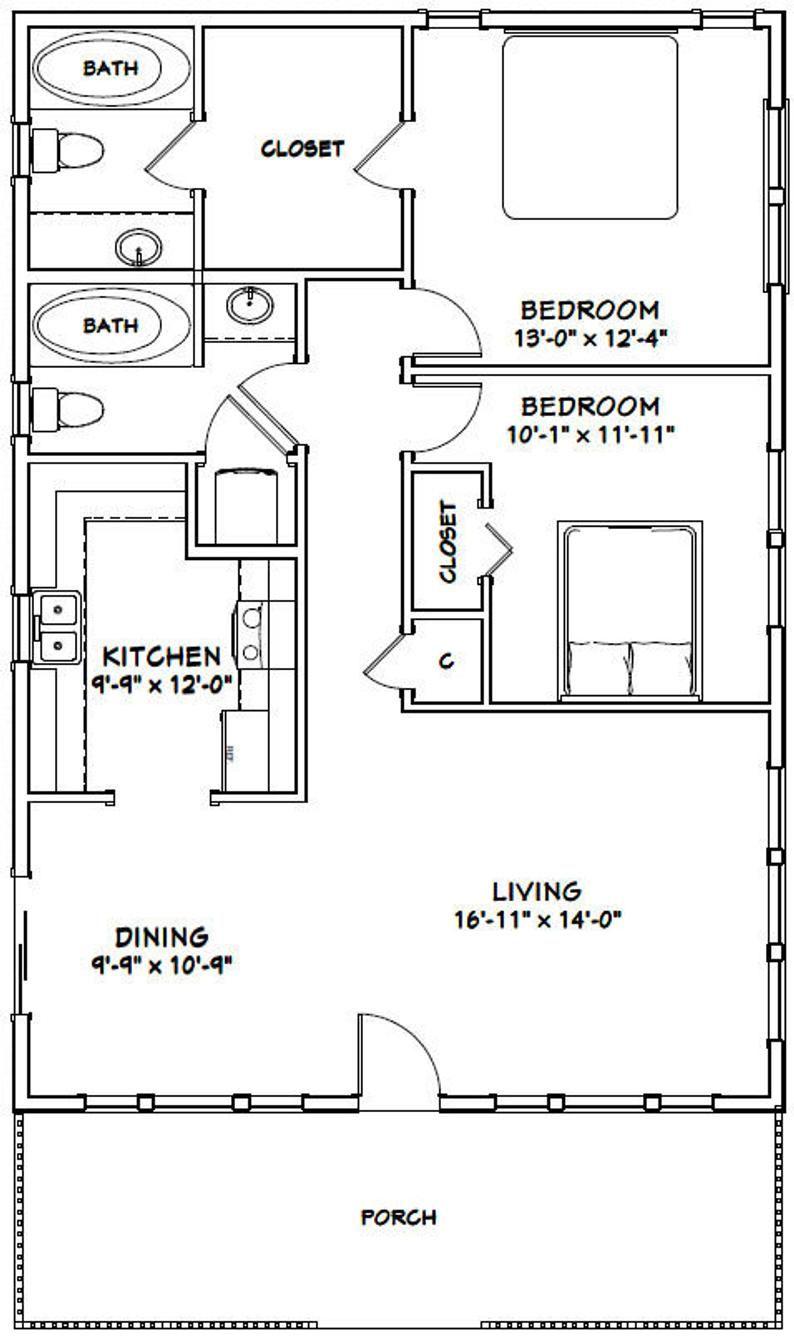 28x40 House 2 Bedroom 2 Bath 1120 Sq Ft Pdf Floor Etsy Home Design Floor Plans Small House Plans Floor Plan Design