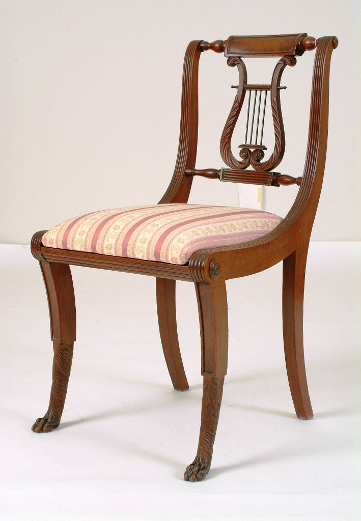 Rare Important Early C American Federal New York Duncan Phyfe Lyre Back Hairy Paw Carved Feet Classical Mahogany Side Chair Circa Original Surface