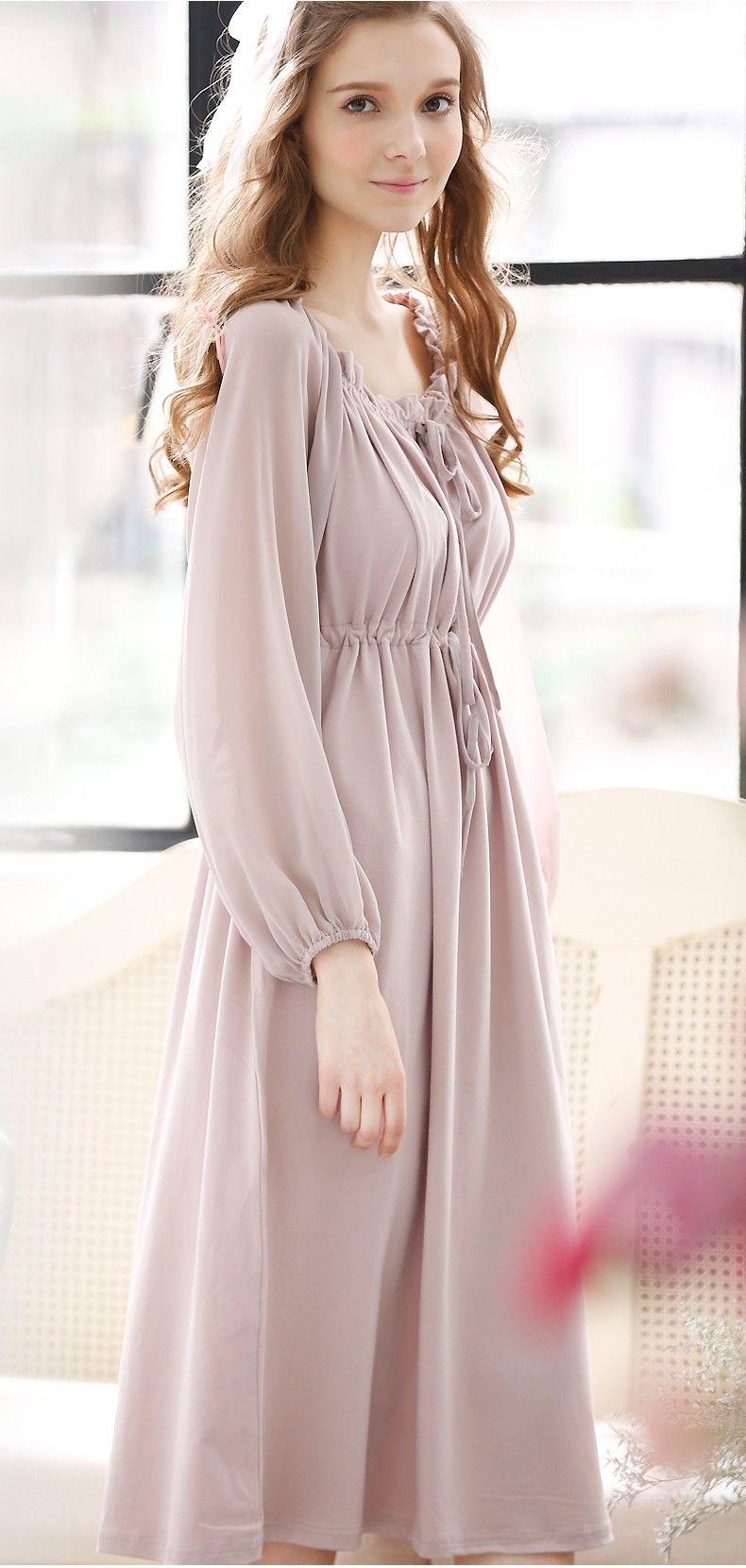 1d9e55106c6c Elegant Light Purple Cotton   Chiffon Puff Sleeve Sleepwear ...