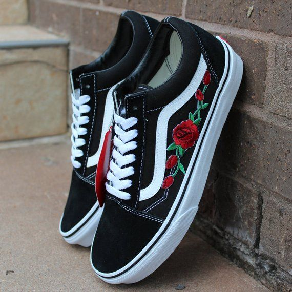 Black Vans Old Skool Red Rose Custom Shoes Embroidery  3418a6e2b