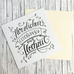 Herzlichen Gluckwunsch Zur Hochzeit Handlettering Grusskarte Greeting Card Envelope Wedding Greeting Cards Hand Lettering