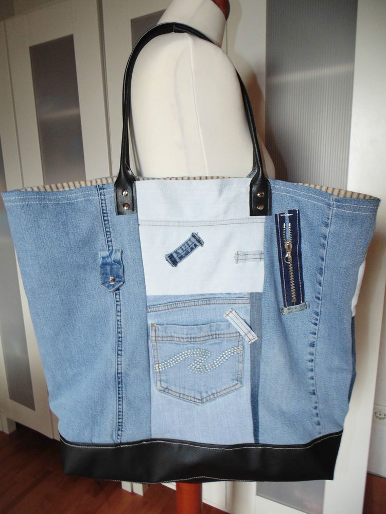 tasche shopper strandtasche upcycling unikat jeans recycling pinterest upcycling. Black Bedroom Furniture Sets. Home Design Ideas