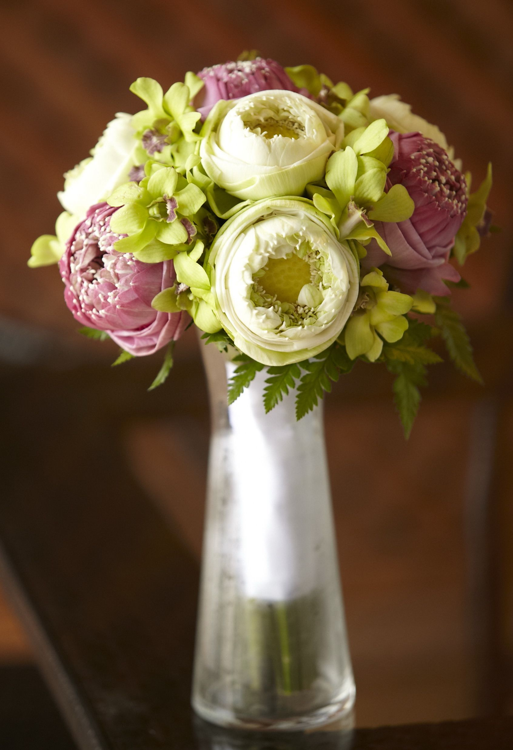 Posey pink and white open lotus with green orchids bouquet posey pink and white open lotus with green orchids izmirmasajfo
