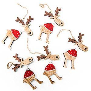 5 Lustige Rot Weiß Gepunktete Natürliche Holz RENTIER Rudolph  Weihnachts ANHÄNGER (12 Cm)