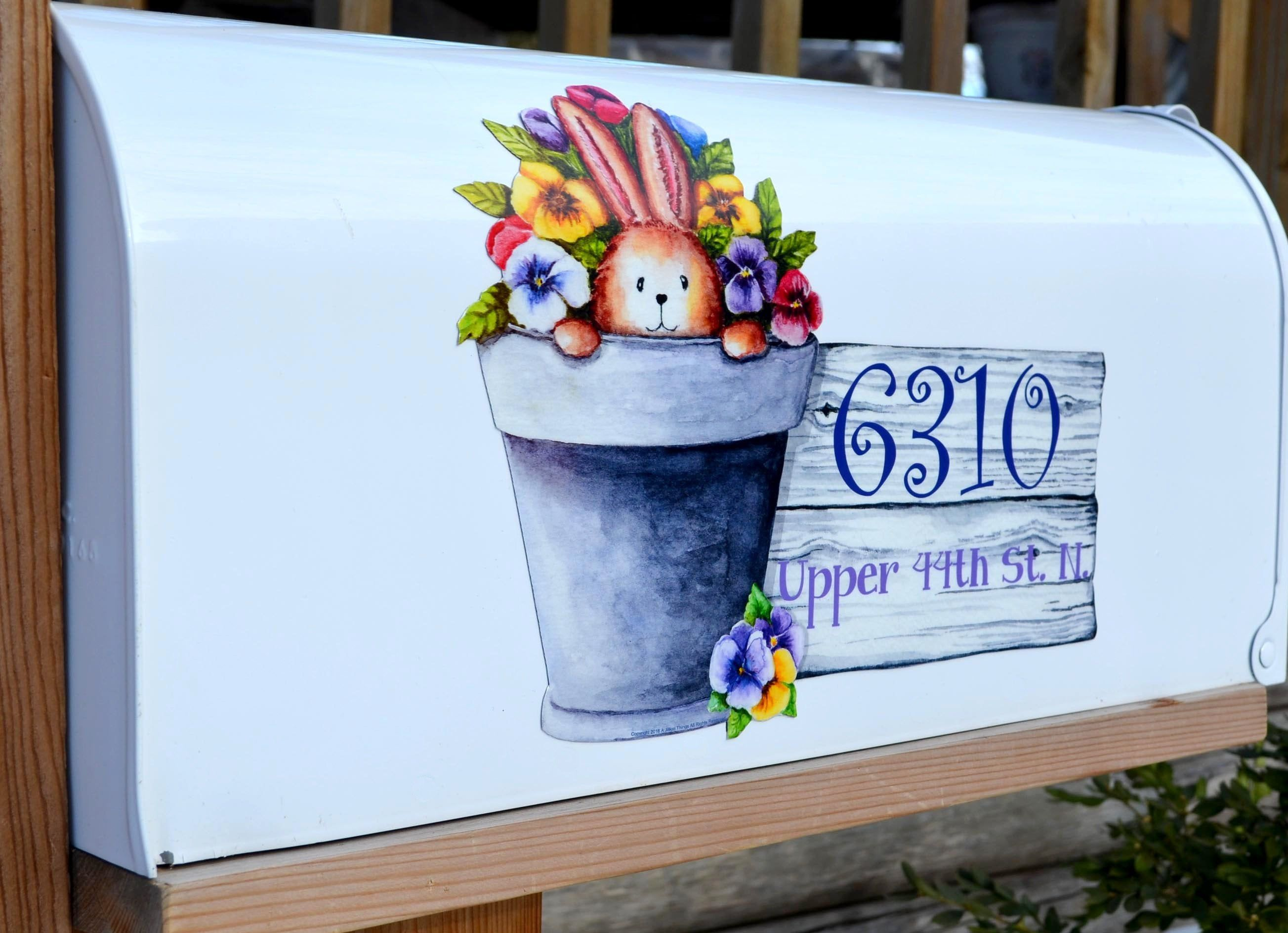 Magnetic Mailbox Cover Magnet Bunny Pansy Personalized Spring Etsy Magnetic Mailbox Covers Mailbox Covers Floral Magnets
