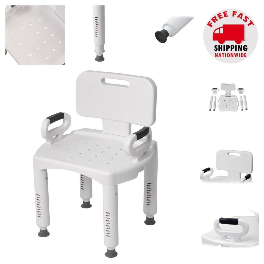 Shower Chair With Back And Armrests Ideas For Old Wooden Folding Chairs Arms Adjustable Height Bath Tub Seat Non Slip Safe Feet Drivemedical