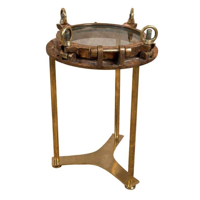 Superbe Original Antique Nautical Brass Porthole Converted To Side Table    1stdibs.com