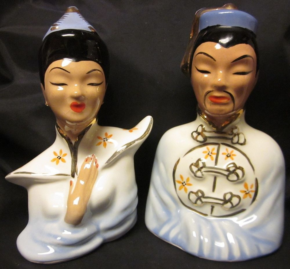Asian chinese 2 busts oriental porcelain figurines vtg gold trim asian chinese 2 busts oriental porcelain figurines vtg gold trim 65 woman man reviewsmspy