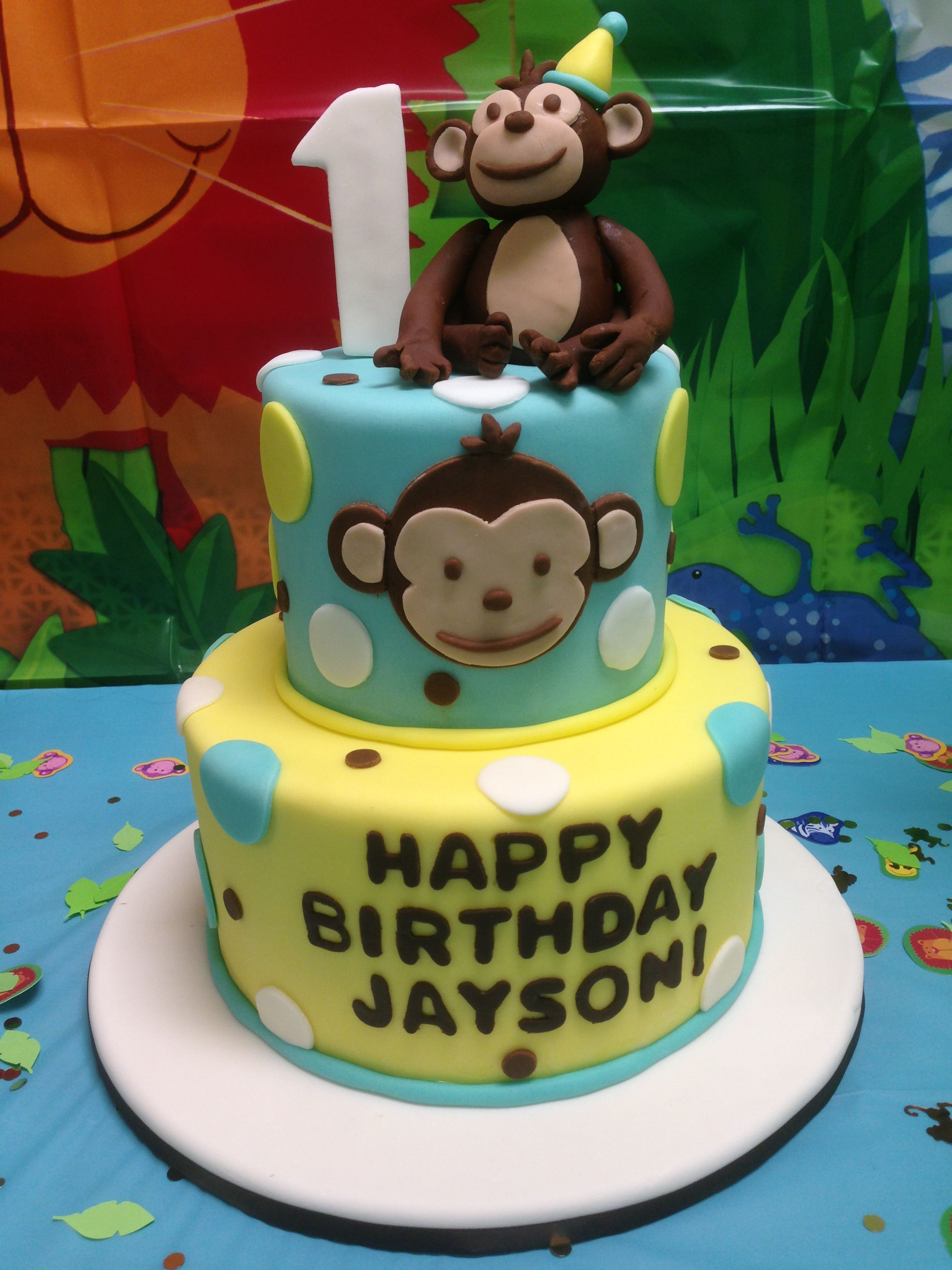 Remarkable Mod Monkey 1St Birthday Cake With Images Monkey Birthday Cakes Personalised Birthday Cards Veneteletsinfo