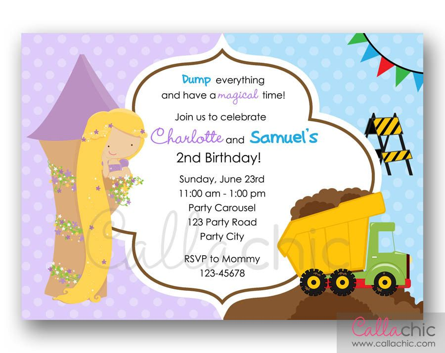 Split invitation in Rapunzel and Dump Truck theme Perfect for twins - invitation letter for home party