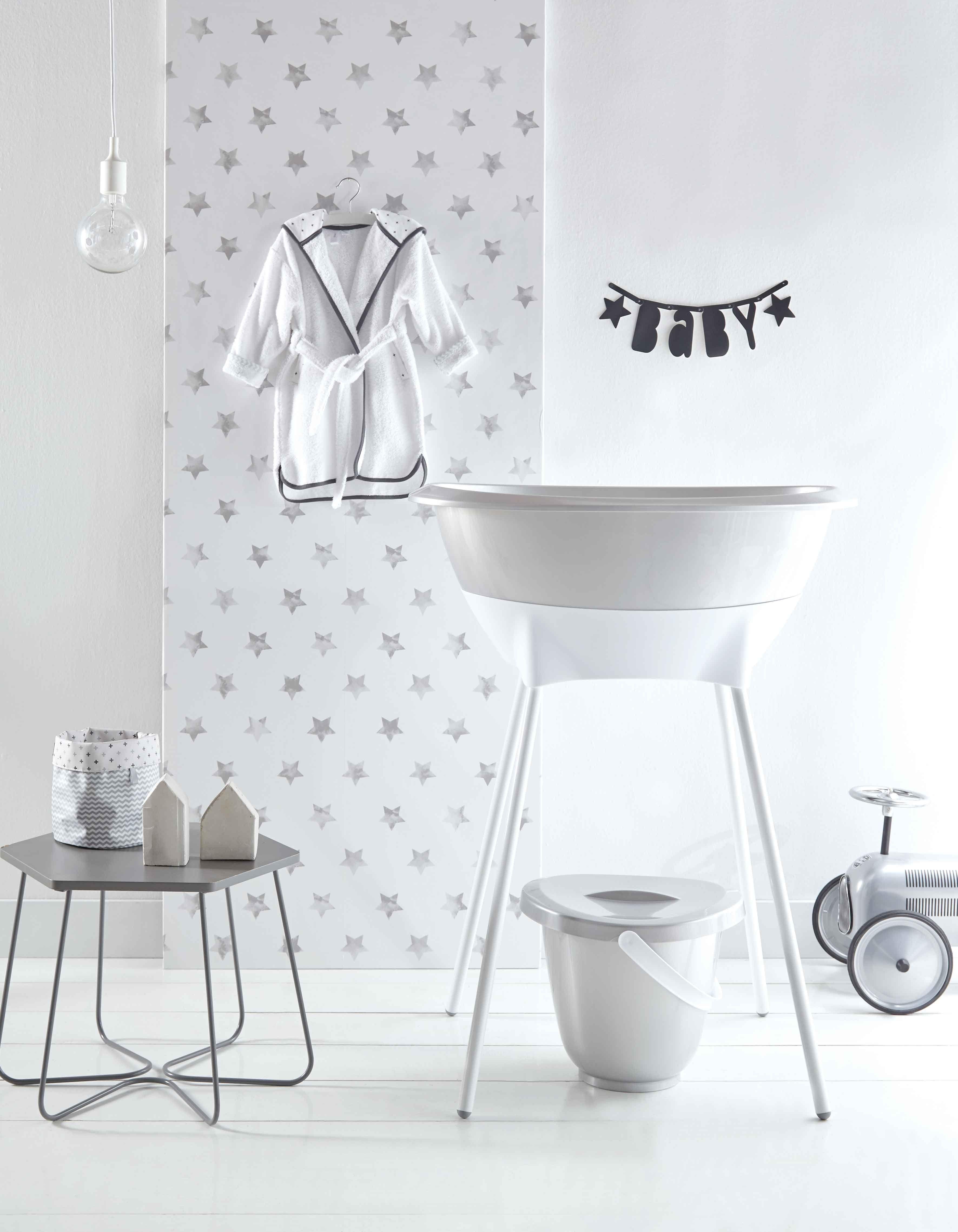 Luma Sparkling Silver Nursery Baby Bath Nappy Pail Bathrobe Nursey Basket Baby Bath Baby Bath Tub Bath Essentials