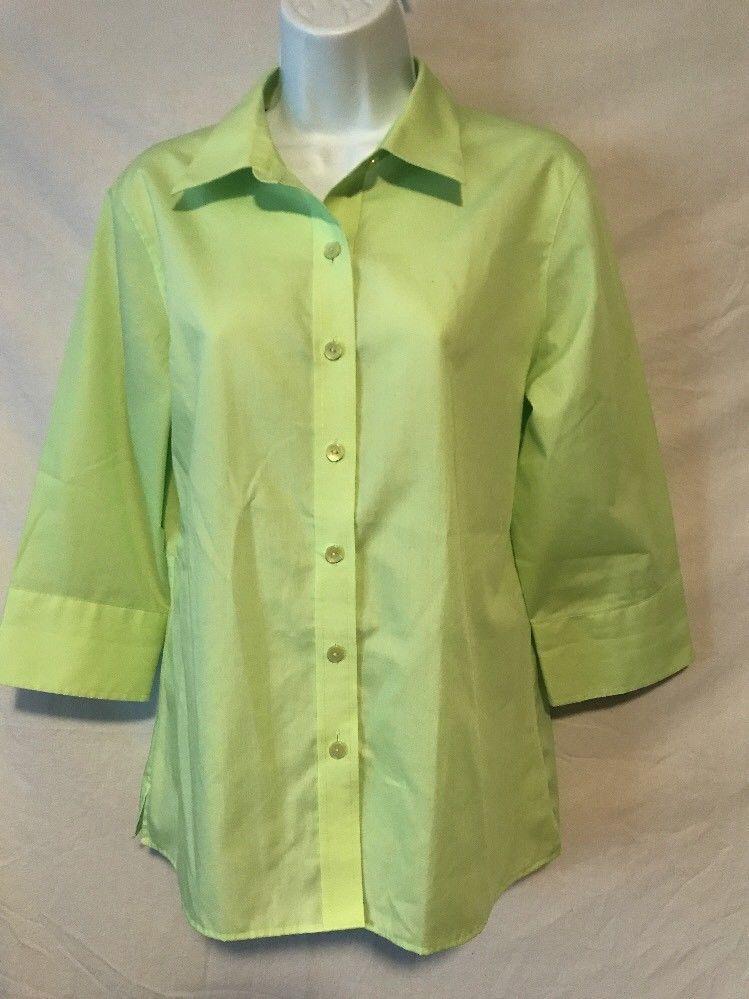70972a297 Foxcroft Women Wrinkle Free 12 Petite Light Green Button Down Career Shirt  | eBay