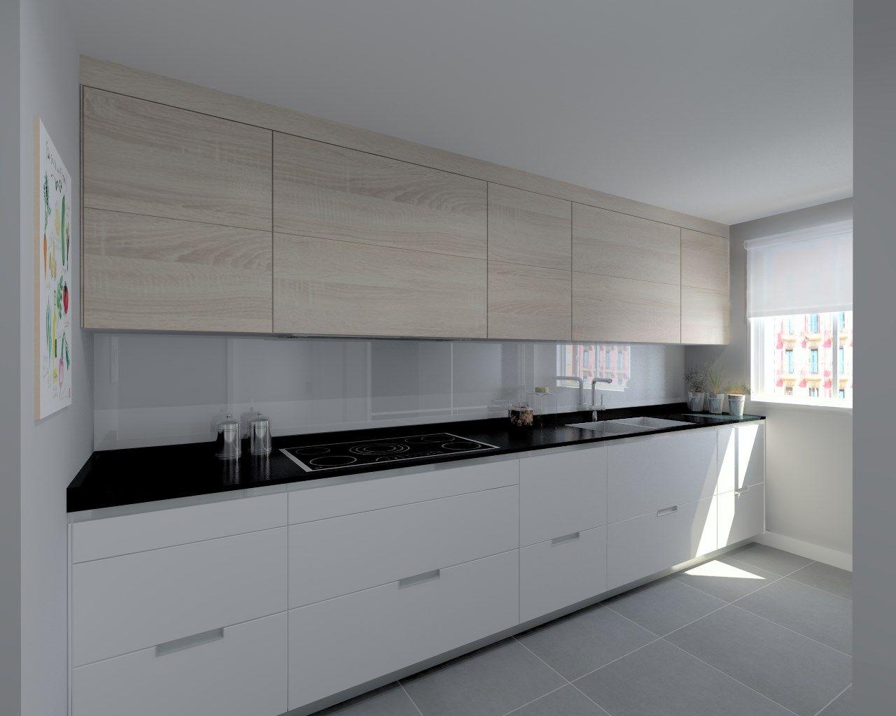 Cocina santos modelo minos laminado seda blanco y for Encimera cocina granito
