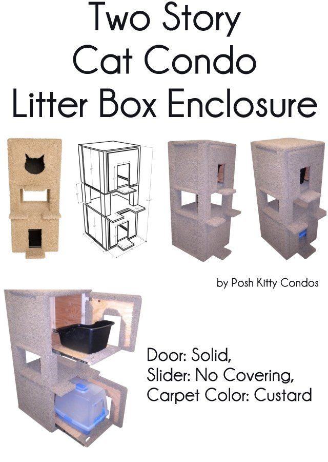 Two Story Cat Condo And Litter Box Enclosure Door: Solid / Solid, Slider: